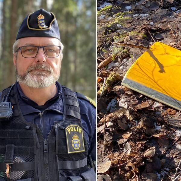 Polis och helikopterdelar utomhus i en skog