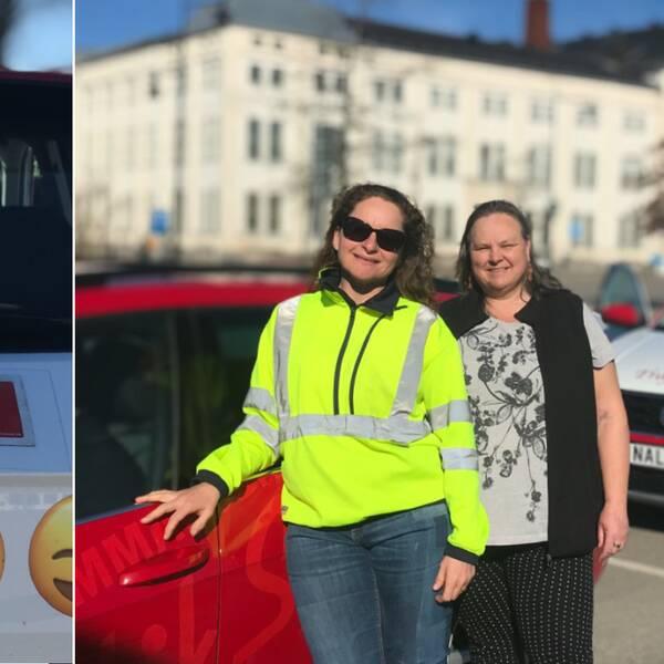 T.v: Bil med övningskörningsskylt. T.h: Två trafiklärare i Emmaboda.