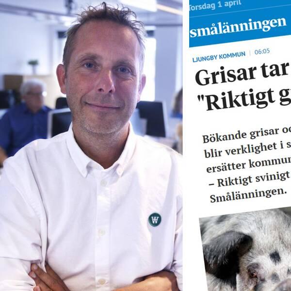 Bilden är ett collage. Den vänstra bilden är en porträttbild på Anders Sjölin, redaktionschef och ansvarig utgivare på tidningen Smålänningen. Den högra bilden är en skärmdump på en av Smålänningens artiklar.
