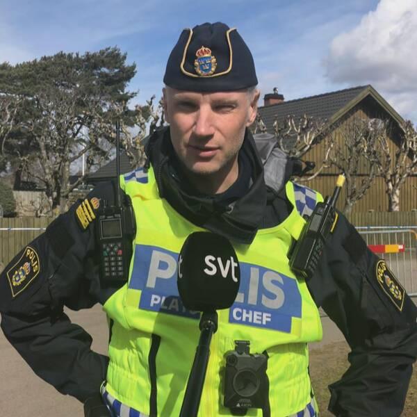 Mats Timmerman, gruppchef på polisen, på Östra stranden.