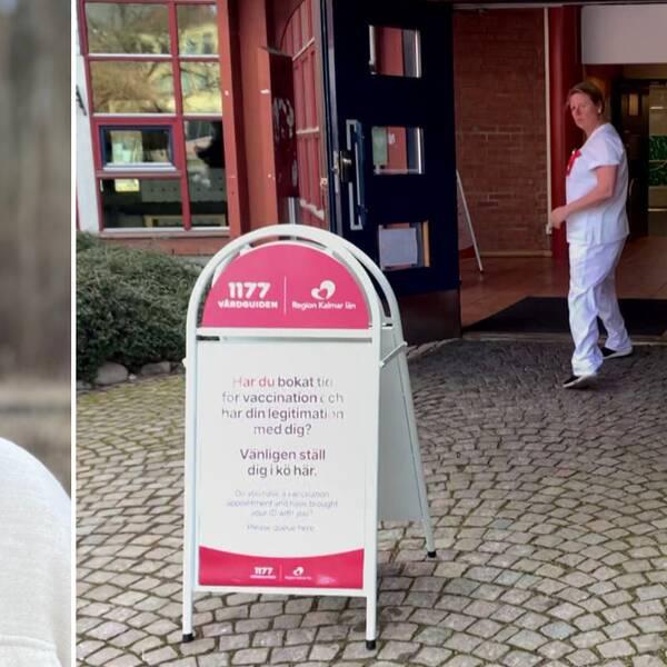 Marie Ragnarsson, vaccinsamordnare och bild utanför Kalmars vaccinationscentral med en sjuksköterska och en skylt med information om vaccineringen.