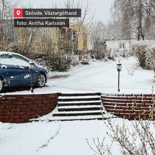 Vinnarbild vecka 18. Nysnötäcke i Simsjön, Skövde i Västergötland på morgonen den 6 maj.