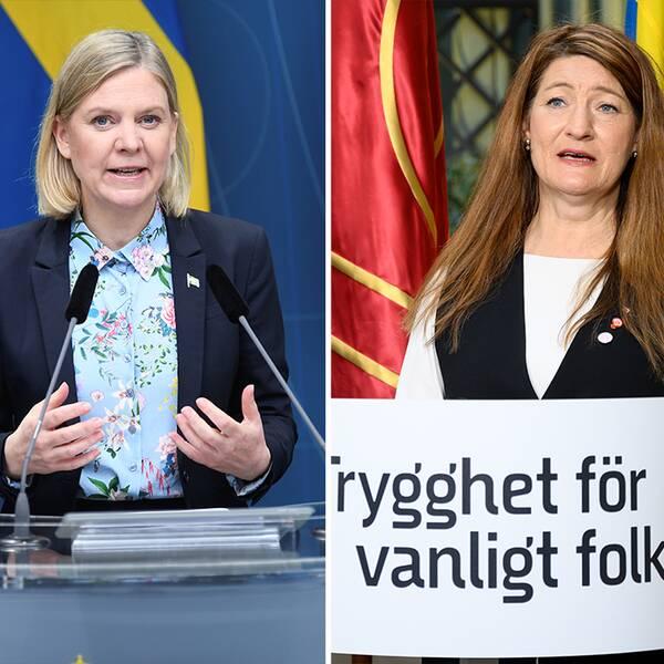 Finansminister Magdalena Andersson (S), LO:s ordförande Susanna Gideonsson, Elisabeth Svantesson, Moderateranas ekonomiskpolitiska talesperson.