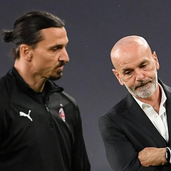 Milans tränare Stefano Pioli uttalar sig om Zlatans skada.
