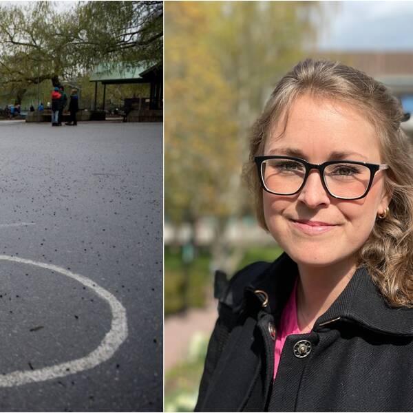 Vänster del av bilden föreställer en skolgård. Höger del av bilden föreställer en glasögonprydd kvinna som ler in i kameran.