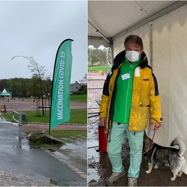 Vänster del av bilden föreställer entrén till drive in-vaccinationen. Till höger syns en man iklädd gul jacka och munskydd.