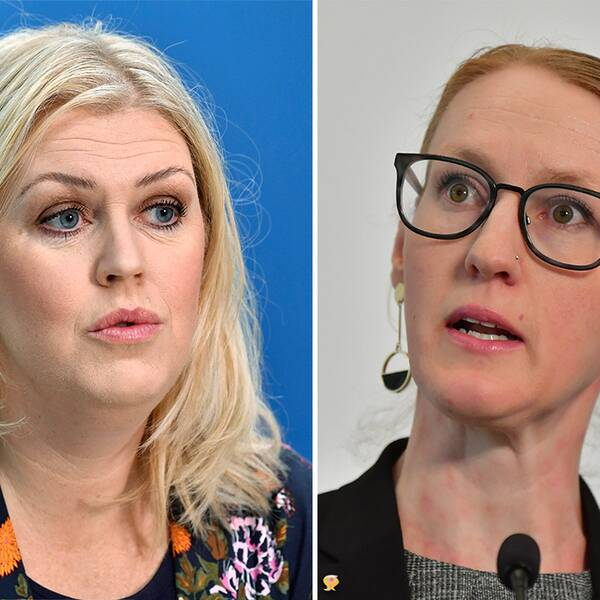 Till vänster: Socialminister Lena Hallengren (S) Till höger: Emma Spak, sektionschef för hälso- och sjukvård på SKR.