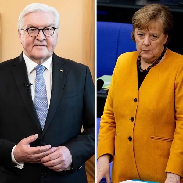 Tysklands förbundskansler Angela Merkel,Tysklands förbundspresidentFrank-WalterSteinmeieroch tidigarefinansministernPeerSteinbrück