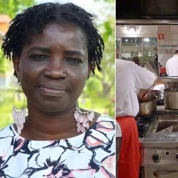 Bilden är delad i två. Den vänstra bilden är en porträttbild på en senegalesisk kvinna i medelåldern. Hon har stora silverringar i öronen med ljusrosa stenar. I bakgrunden skymtar grönska. Den vänstra bilden föreställer ett restaurangkök i rostfritt stål. Flera kockar i vita kockrockar och kockmössor arbetar i köket.