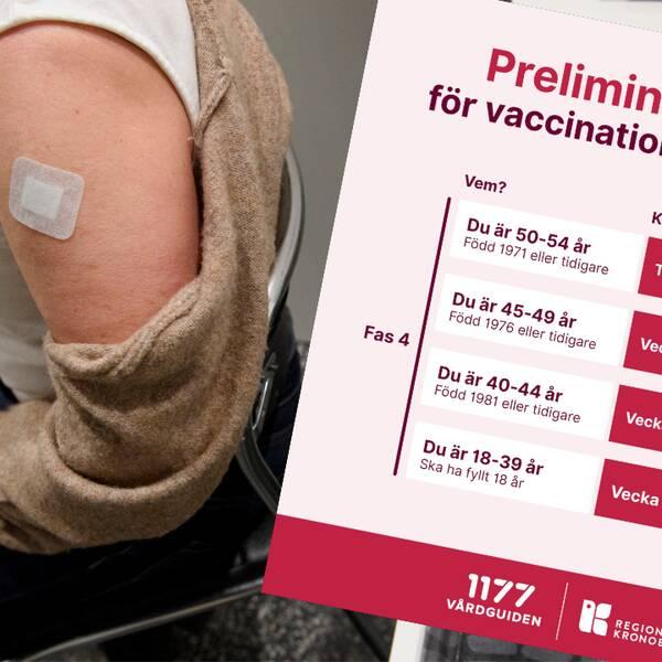 Från och med den 28 juni släpper Region Kronoberg på alla över 18 år att boka in sig för en vaccination