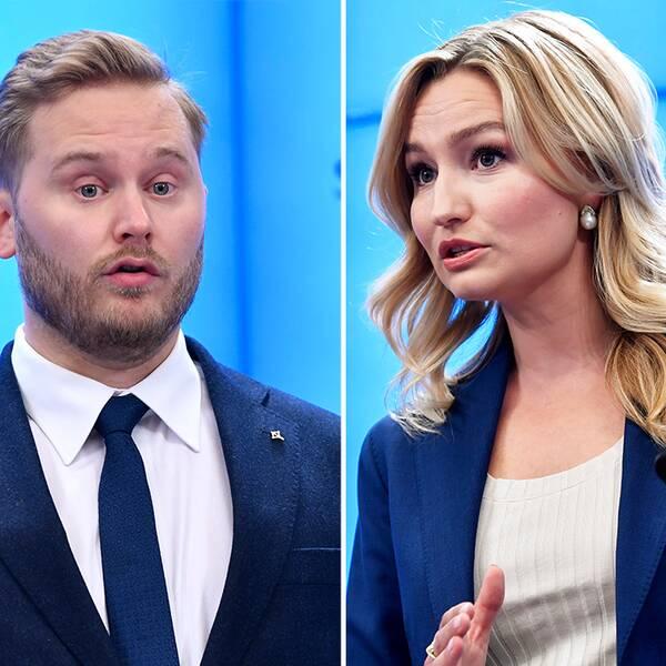 M:s partiledare Ulf Kristersson, SD:s gruppledare Henrik Vinge, KD:s partiledare Ebba Busch.