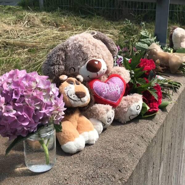 På bilden syns några av de gosedjur, blommor och ljus som lämnats till de omkomna.