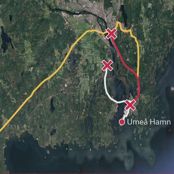 Karta på hur vindkraftverken måste transporteras.