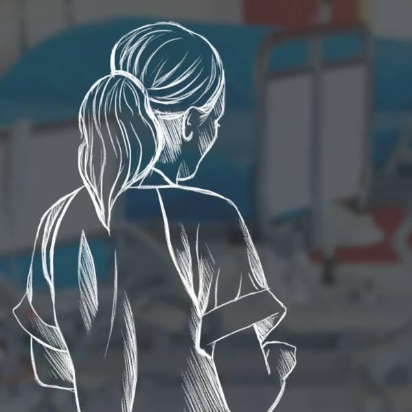 illustration av en kvinnlig vårdanställd