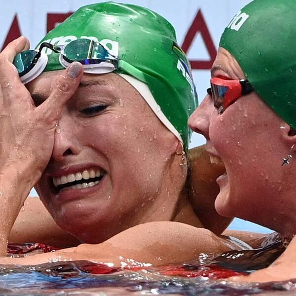 Tatjana Schoenmaker blev överlycklig efter sitt OS-guld och världsrekord.