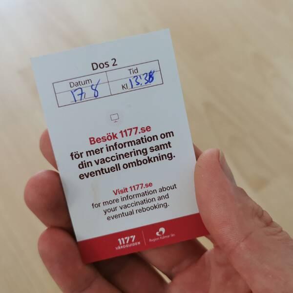 Bild på vaccinationskort från Region Kalmar län