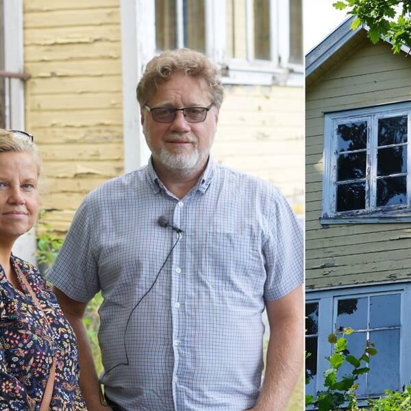 Yvonne och Magnus står bredvid varandra framför ett guld ödehus. De tittar in i kameran. Bilden bredvid föreställer det gula ödehuset.