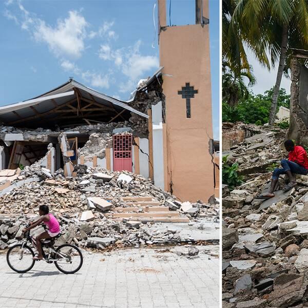 Jordbävningsdrabbade personer i ruinerna efter jordbävningen på Haiti.