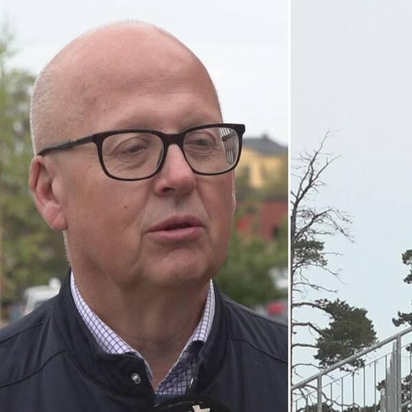 Delad bild. Till vänster skallig man med svartbågade fyrkantiga glasögon. Till höger, svar-röd-gul flagga med Östersunds fotbollsklubbs logga på.