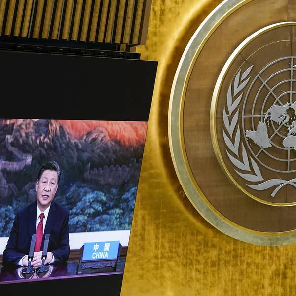 Xi Jinping talade genom en förinspelad film inför generalförsamlingen i New York, och lovade att Kina ska öka tempot i bekämpningen av klimatkrisen.