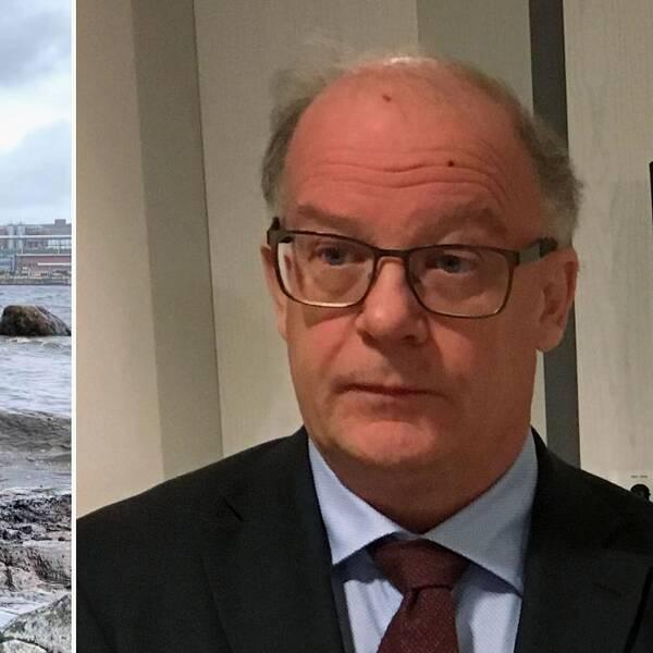 Oljesanering längs kusten i Husum. Stig Andersson, miljöåklagare.