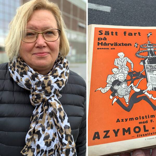 Katarina Winge, anställd på Kvarnsvedens pappersbruk och en av de gamla tidningar som nu ska arkiveras.
