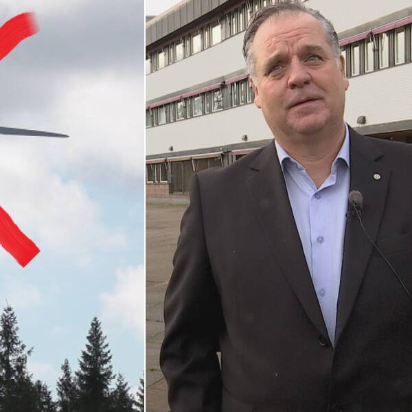 Överkryssat vindkraftverk och Torgny Maurer (SD), Sverigedemokraternas gruppledare i Finspång