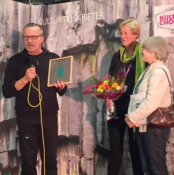 Jurymedlemmen Sune Nordgren, Föreningen Sveriges kulturtidskrifters ordförande Siri Reuterstrand samt Nina Weibull från Divan.