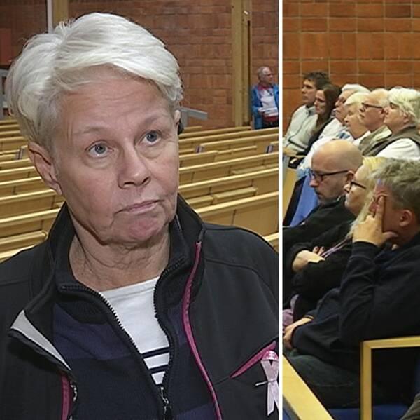 Elisabeth Granbom samt bild på mötesdeltagare med Hallsbergs kommun angående översvämningen i september 2015.