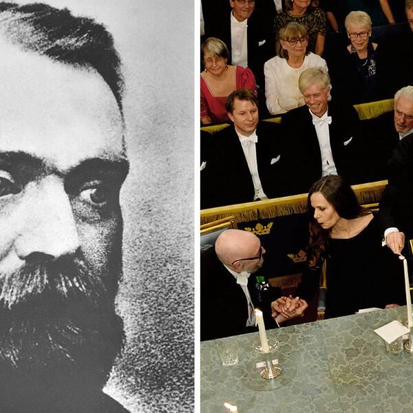 Alfred Nobel blickar ner på akademiledamöterna Togny Lindgren, Sara Danius, Peter Englund och Göran Malmqvist.