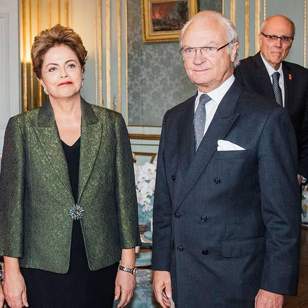 Brasiliens president Dilma Rousseff träffade kungaparet under besöket i Sverige.