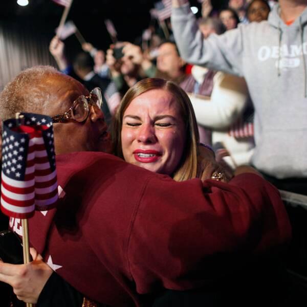Obamaanhängare i tårar i Chicago.