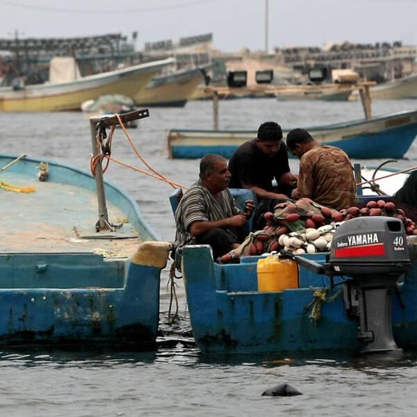Palestinska fiskare vid hamnen i Gaza City i slutet av september.
