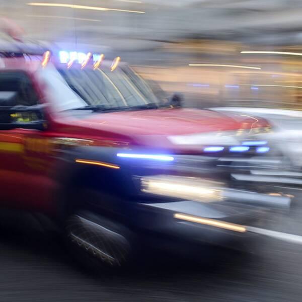 Räddningstjänsten fick rycka ut på en brand med explosionsrisk i Köpmanholmen.