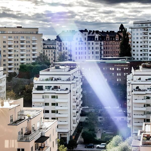 Vy över bostadshus i Stockholm.