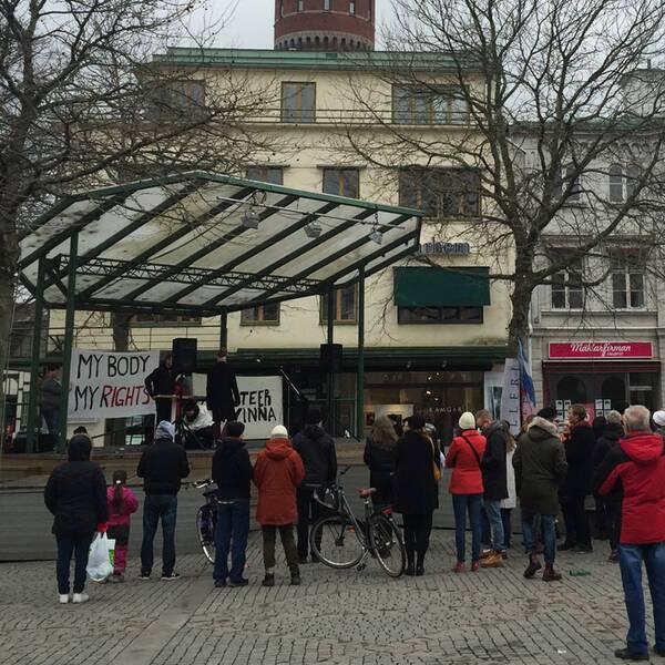 Manifestation på Larmtorget i Kalmar