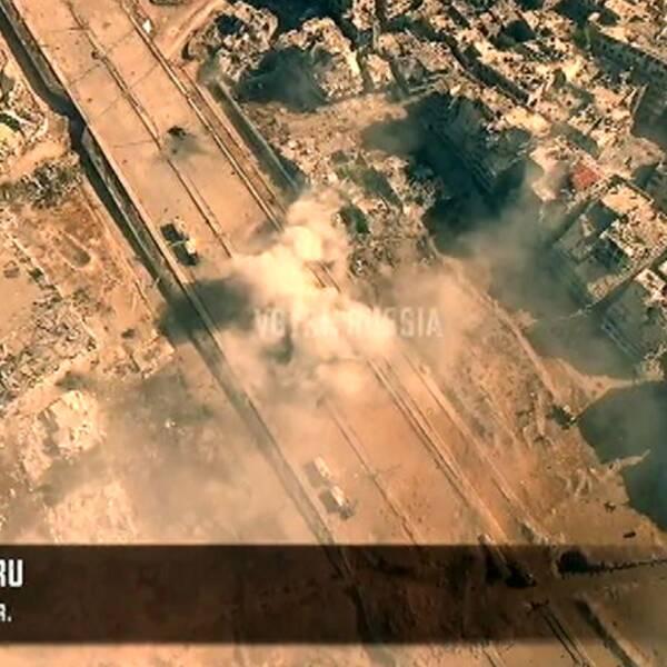 Drönarbilder från strider i stadsdelen Jobar i Damaskus.
