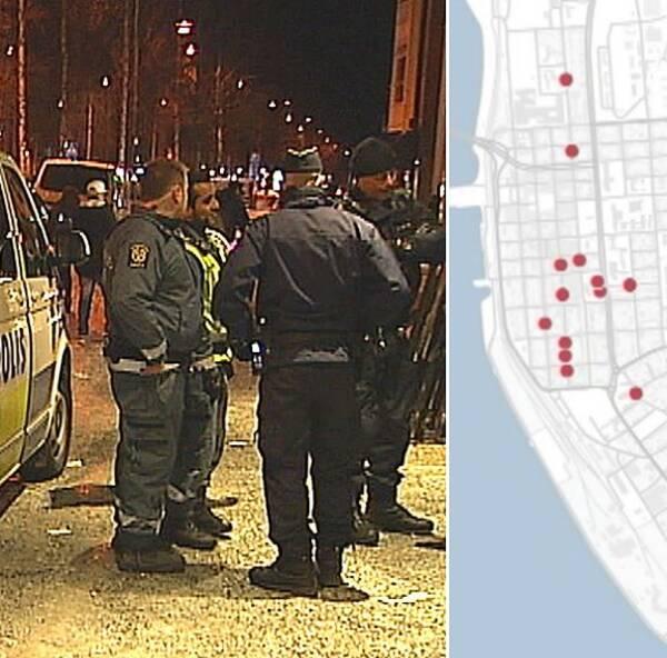 Kartan visar var överfallen har skett.