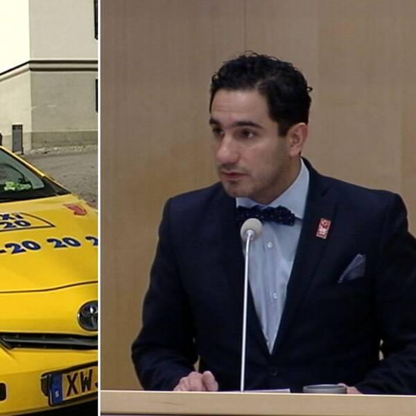 Taxi 020-bil och civilministern.