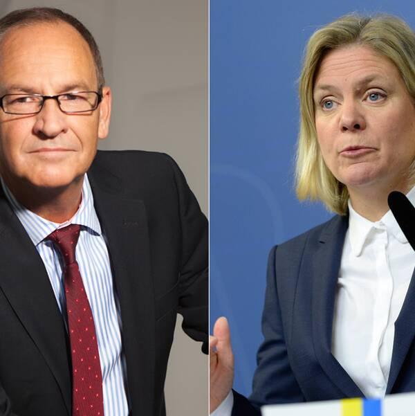 Bo Jansson, Lärarnas Riksförbund. Till höger Magdalena Andersson, finansminister.