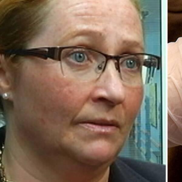 Marie Olsson, vice ordförande i Narkolepsiföreningen, och en bild på en yngra människa som får en spruta.