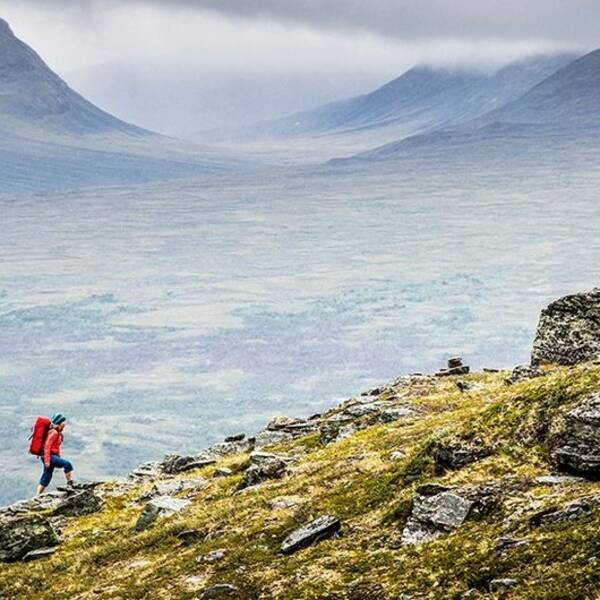 Vy över mäktiga fjäll i Abiskoområdet // Kungsledensträckan 40 mil långa leden som sträcker sig mellan Abisko och Hemavan. Kungsledensträckan mellan Abisko och Nikkaluokta är den mest vandrade leden i Sverige.