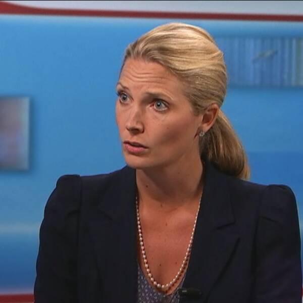 Helena Sundén, generalsekreterare vid Institutet mot mutor, i SVT Nyheter Uppsalas studio.