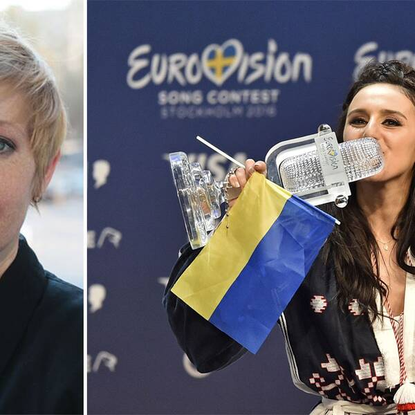SVT:s korrespondent Elin Jönsson och Ukrainas vinnare Jamala.