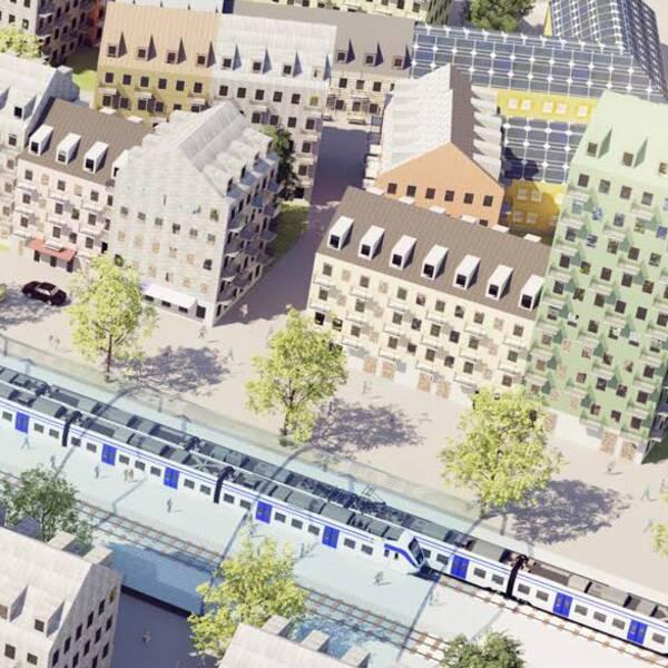 Illustration över möjliga bostäder längs sträckan Stockholm-Uppsala.