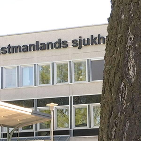Björkstam framför Västmanlands sjukhus.