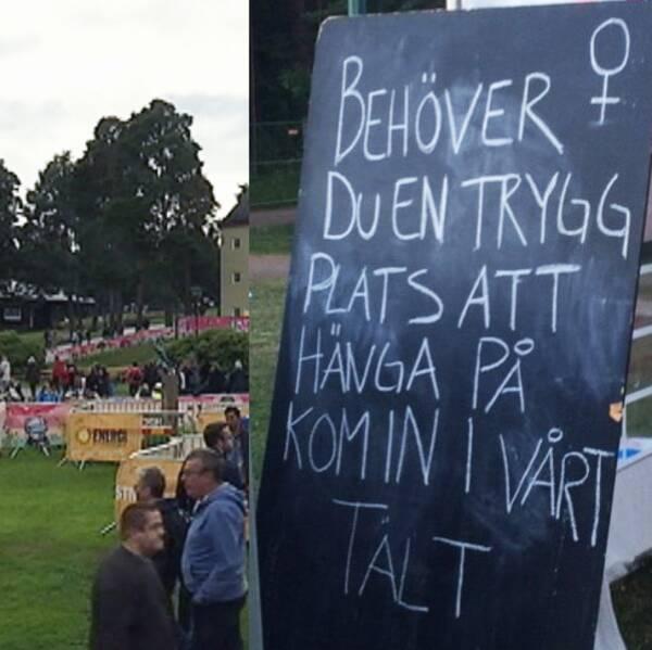 Putte i parken festivalområde och en skylt från Tjejjourens tält på området.