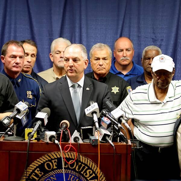 Louisiana-guvenören John Bel Edwards talade vid pressträffen sent på söndagskvällen, svensk tid, efter att flera poliser skjutits till döds i Baton Rouge.