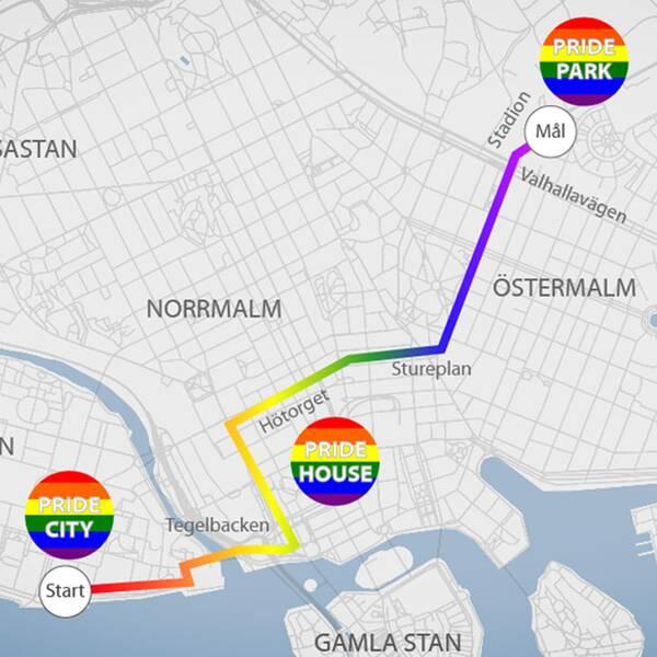 En karta över prideparadens rutt.