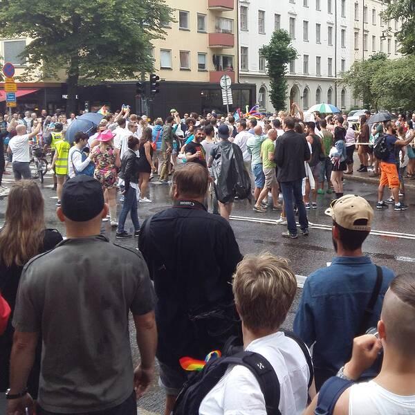 Tumult i Prideparaden i Stockholm